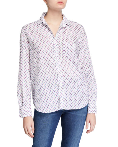 Eileen Button-Down Printed Chambray Shirt