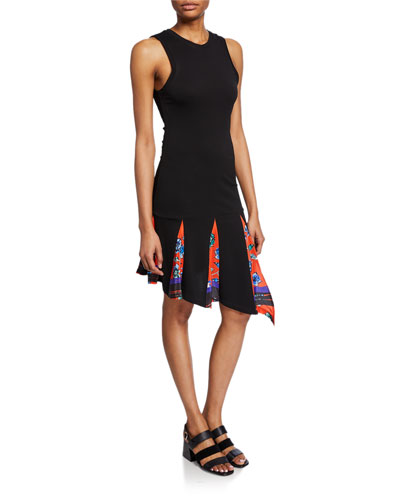 Asymmetrical Tank Dress with Printed Godet Insert