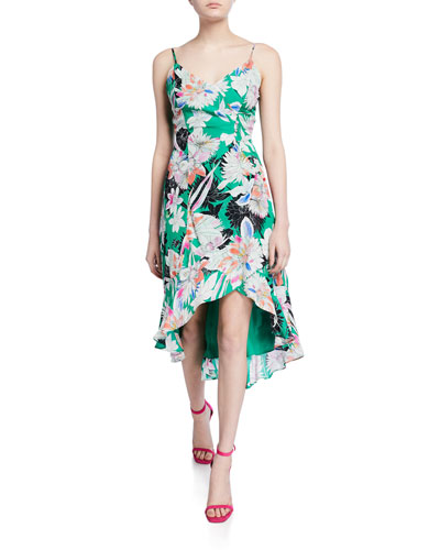 Colleen Floral V-Neck Sleeveless High-Low Dress