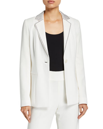 Stella One-Button Stud-Trim Jacket