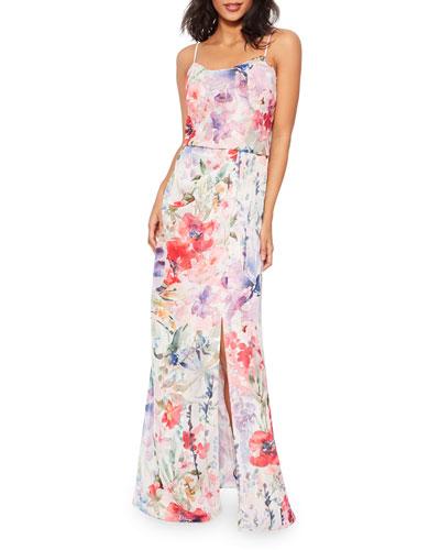 Robe bustier en jacquard motif floral