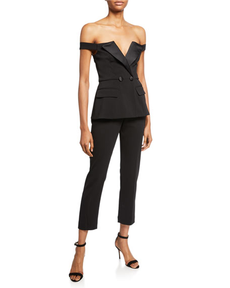 Jay Godfrey Off-the-Shoulder Stretch Crepe Jumpsuit with Satin Trim Detail