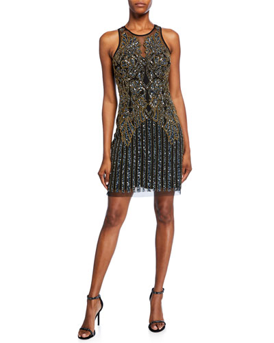 Beaded Sleeveless Jewel-Neck Short Shift Dress