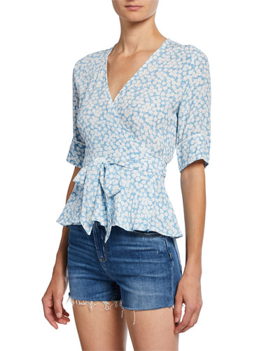 Zalia Printed Short-Sleeve Wrap Top