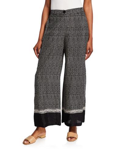 Perinus Polka Dot Shantung Viscose Wide-Leg Pants