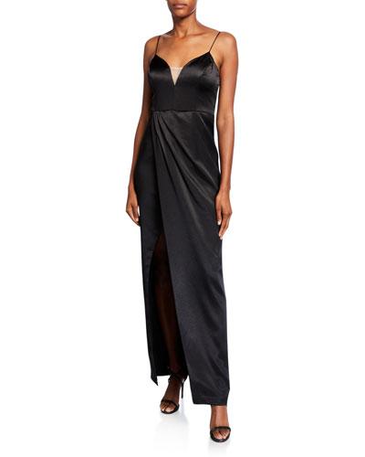 Sleeveless Liquid Satin Draped Dress w/ Slit