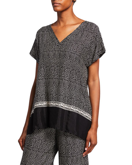 Masai Elvira Polka Dot V-Neck Short-Sleeve Shantung Top