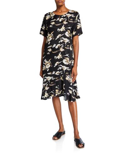 Nebit Floral Short-Sleeve Ruffle-Hem Dress