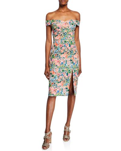 Floral Off-the-Shoulder Short-Sleeve Crepe Dress with Slit