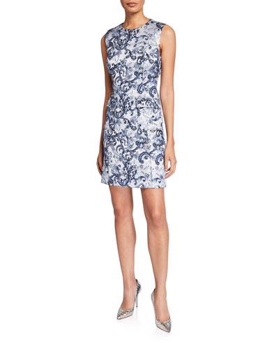 Jaelyn Printed Crewneck Pocket Dress