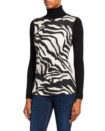 Women T-Shirt Zebra Printed Turtleneck Flare Sleeve Pullover Top