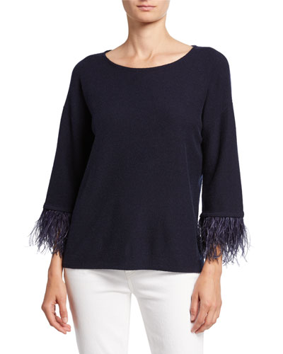 Cashmere Boat-Neck 3/4-Sleeve Sweater with Ostrich Feathers