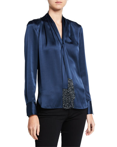 Kendal Tie-Neck Long-Sleeve Silk Satin Blouse