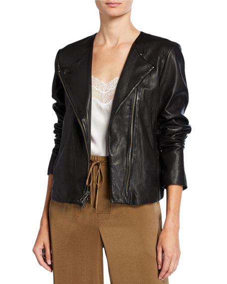 Vince Cross-Front Leather Moto Jacket