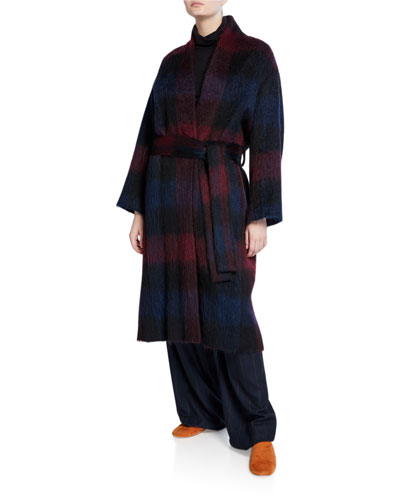 Brushed Plaid Belted Long Coat