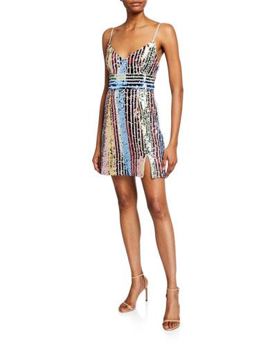 Multicolor Sequin Stripe V-Neck Sleeveless Mini Dress