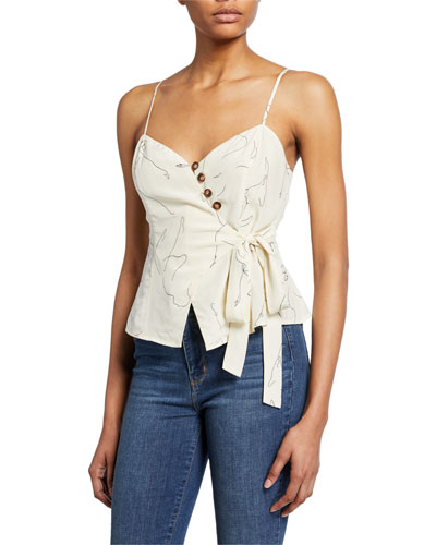 Judi Button-Front Sleeveless Top