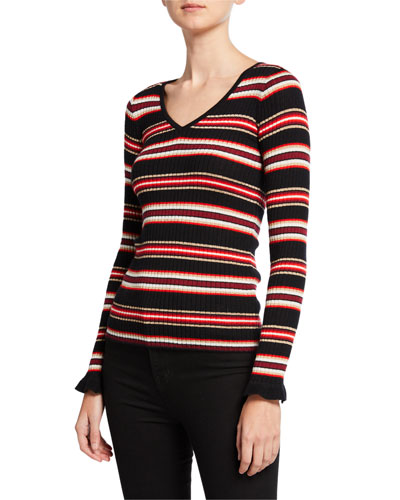 Metallic Striped V-Neck Long-Sleeve Superfine Cashmere Sweater
