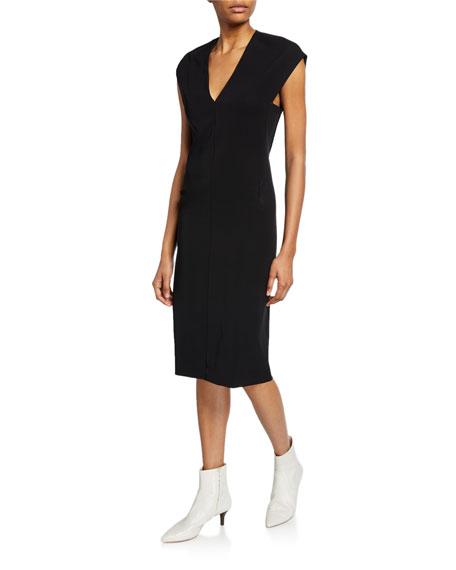 Vince V-Neck Cap-Sleeve Pencil Dress