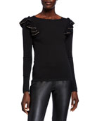 Neiman Marcus Cashmere Collection Crewneck Long-Sleeve