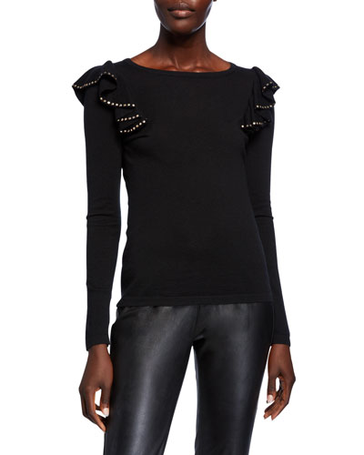 Crewneck Long-Sleeve Embellished Ruffle-Shoulder Cashmere Sweater