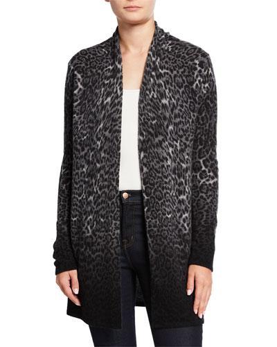 Ombre Leopard-Print Cashmere Duster Cardigan