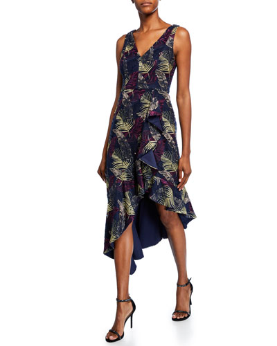 Printed V-Neck Sleeveless Asymmetric High-Low Dress