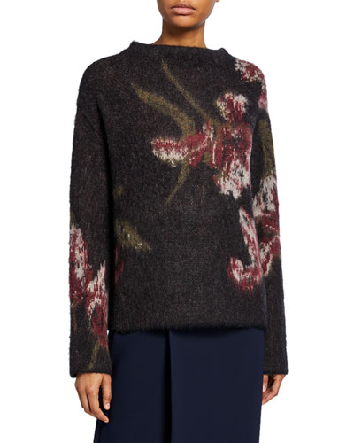 Brushed Floral Long-Sleeve Sweater