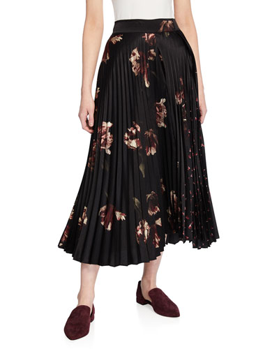 Mixed Tulip-Print Pleated Skirt