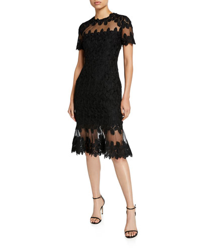Venus Floral Lace Short-Sleeve Mesh Inset Dress