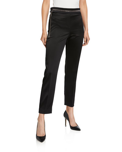 Marcia Satin Ankle Pants with Metallic Sash