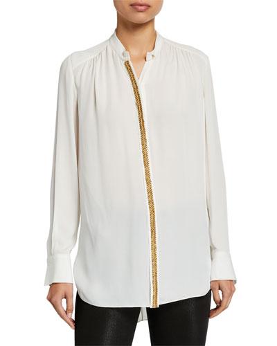 Felice Button-Down Long-Sleeve Silk Blouse