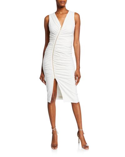 Ivy Shirred V-Neck Sleeveless Asymmetric Zip-Front Dress