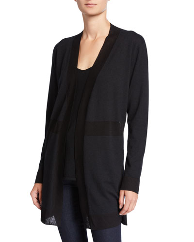 Superfine Cashmere Open-Front Cardigan with Sheer Panels