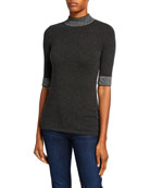 Neiman Marcus Cashmere Collection Mock-Neck Elbow-Sleeve Cashmere