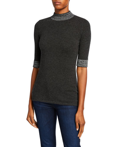 Mock-Neck Elbow-Sleeve Cashmere Sweater with Metallic Trim