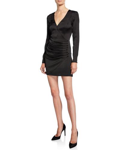 V-Neck Long-Sleeve Shirred Satin Mini Dress