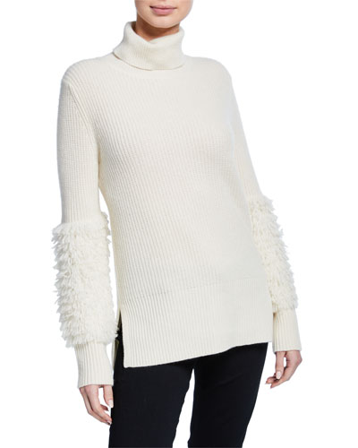 Fringe-Sleeve Turtleneck Cashmere Sweater