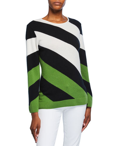 Cashmere Variegated Stripe Long-Sleeve Boat-Neck Sweater