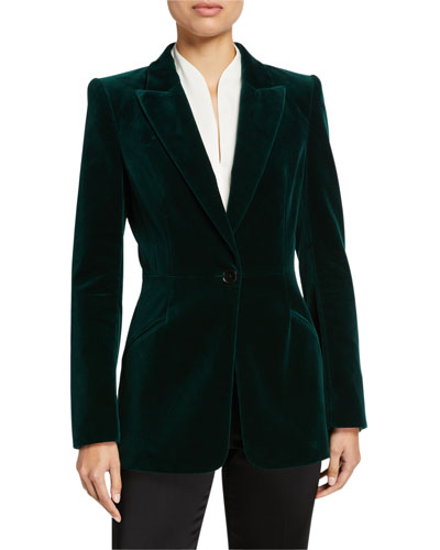 Madison One-Button Velvet Jacket