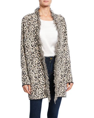 Leopard-Print Open-Front Fringe Cardigan