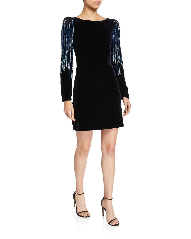 Elie Tahari Dresses CHANTAL VELVET LONG-SLEEVE SHORT DRESS WITH EMBELLISHMENT