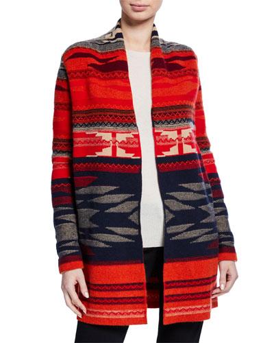 Navajo Stripe Open-Front Cashmere Cardigan