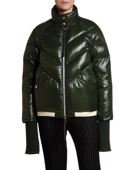 Moncler Yalou Chevron Quilted Knit-Trim Coat