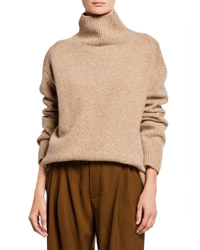 Cashmere Double-Slit Turtleneck Sweater