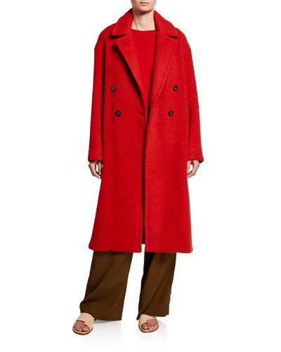 Double-Breasted Alpaca Long Coat