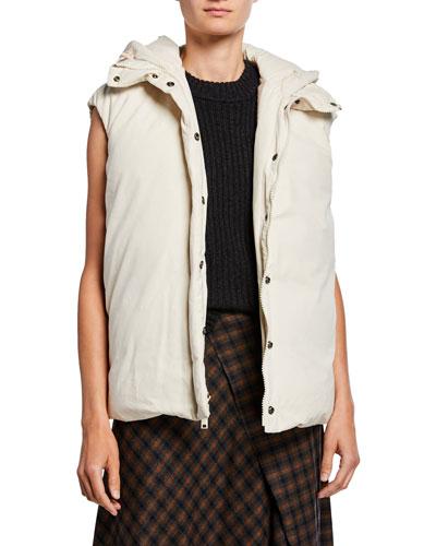 Hooded Zip-Front Puffer Vest