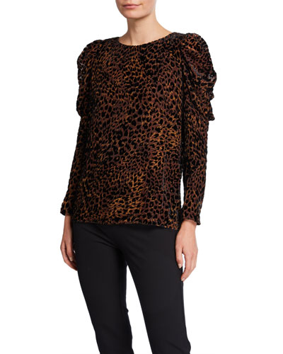Noelle Animal Puff-Sleeve Blouse