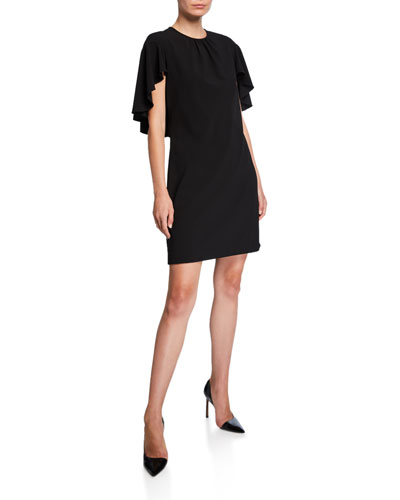 Lolly Draped-Sleeve Sheath Dress