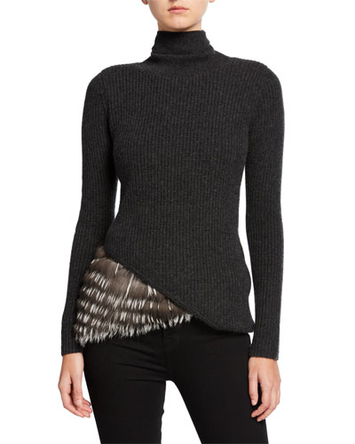 Cashmere Turtleneck Sweater w/ Asymmetric Fur Trim